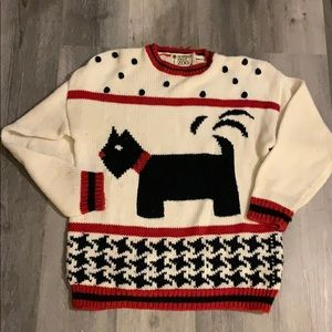 Beverly Hills zoo Scottie dog acrylic sweater